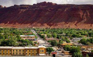 SHOT 5/7/16 6:07:27 PM - Moab is a city in Grand County, in eastern Utah, in the western United States. Moab attracts a large number of tourists every year, mostly visitors to the nearby Arches and Canyonlands National Parks. The town is a popular base for mountain bikers and motorized offload enthusiasts who ride the extensive network of trails in the area. Includes images of Scenic Byway 128, Fisher Towers and downtown Moab. (Photo by Marc Piscotty / © 2016)